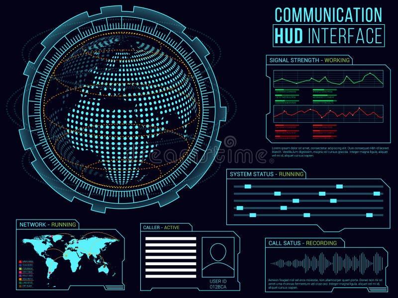 Kommunikations-HUD Interface-Plan lizenzfreie abbildung