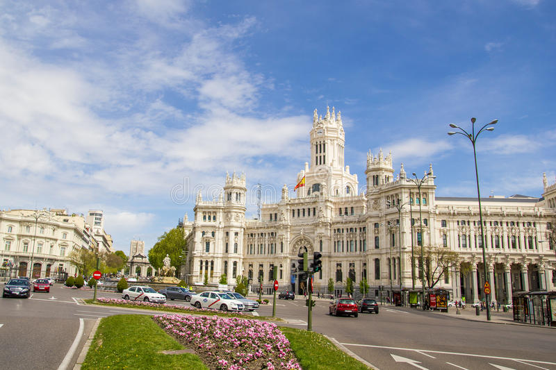 Kommunikations-Palast von Plaza de Cibeles, Madrid, Spanien lizenzfreie stockbilder