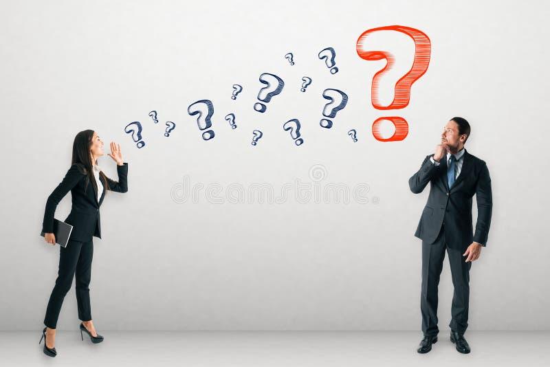 Kommunikations- und Zweifelskonzept stockfoto