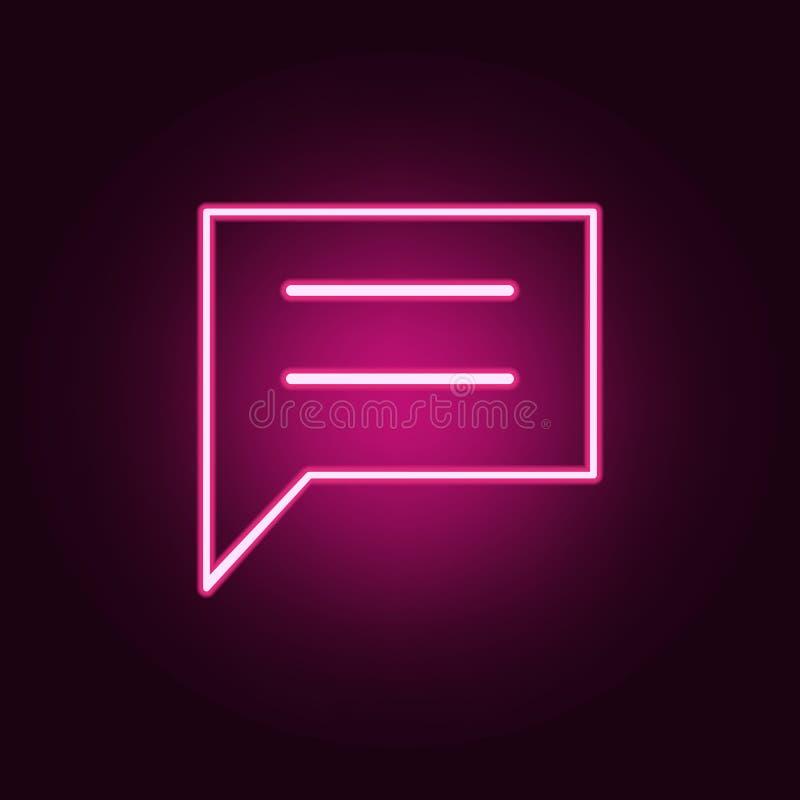 Kommunikationsbubblasymbol Beståndsdelar av rengöringsduken i neonstilsymboler Enkel symbol för websites, rengöringsdukdesign, mo stock illustrationer