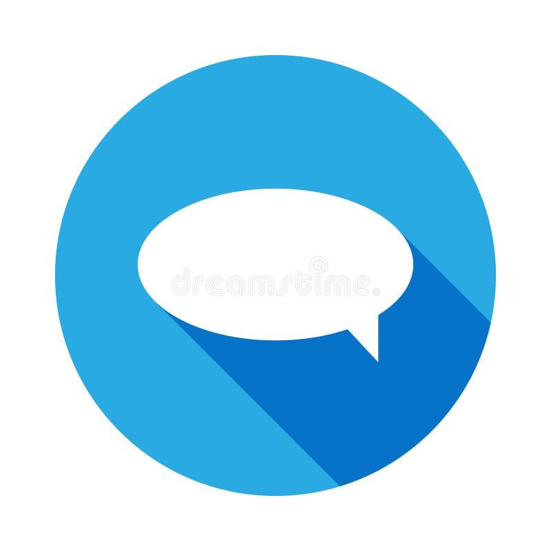 kommunikationsbubblasymbol med l?ng skugga Best?ndsdel av reng?ringsduksymboler H?gv?rdig kvalitets- symbol f?r grafisk design un royaltyfri illustrationer