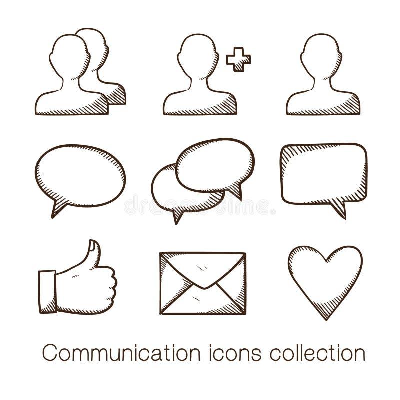 Kommunikationsikonensammlung stock abbildung