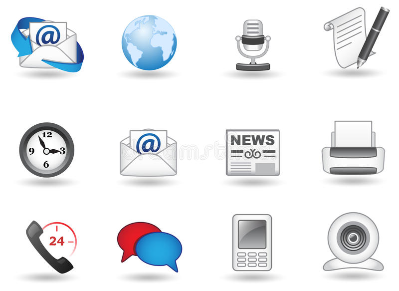 Kommunikationsikonenset stockbild