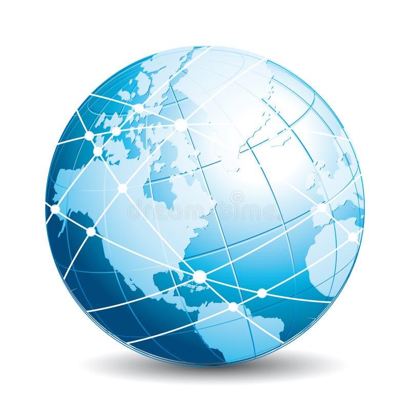 Kommunikationsjordklot Knyta kontakt, resa, utbytes- eller uppkopplingsmöjlighetsymbolen vektor illustrationer