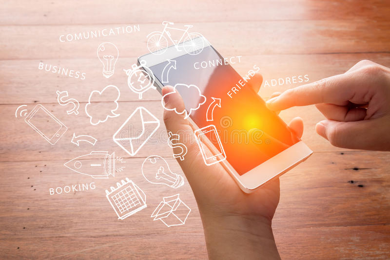 Kommunikationskonzepte mit intelligentem Telefon und Ikone kritzeln stockfoto
