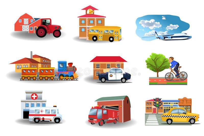 Kommunikationsmedel och deras byggnader royaltyfri illustrationer