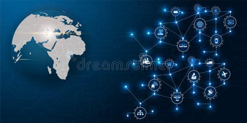 Kommunikationsnätverk runt om jord som används för världsomspännande internationella anslutningar för finans, bankrörelse, intern stock illustrationer