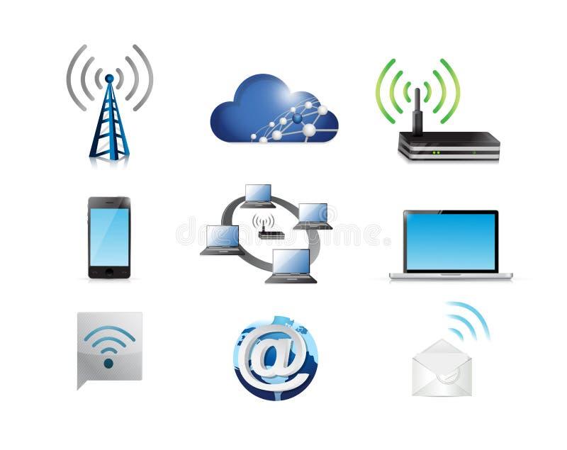 Kommunikationsnetz-Konzeptikonensatz lizenzfreie abbildung