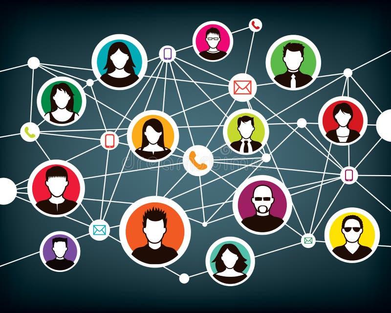 Kommunikationsnetz-Leute lizenzfreie abbildung