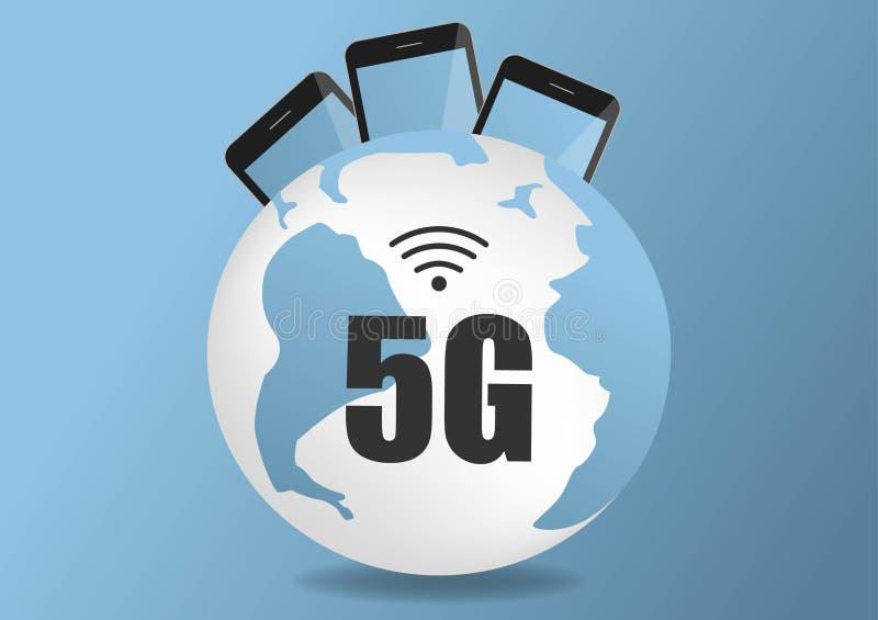 Kommunikationsnetzkarte Netz 4g 5g globale Erdder globalen Logistikverbindungen der Weltblauen Karte Geschwindigkeit des drahtlos vektor abbildung