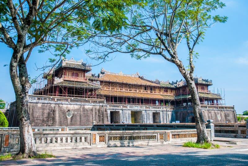 Kommunikationsrechner zum Purpur forbbiden Stadt in der Farbe, Vietnam stockfoto