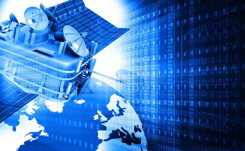 Kommunikationssatellit med den digitala världen vektor illustrationer