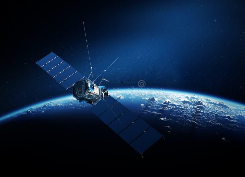 Kommunikationssatellit som kretsar kring jord stock illustrationer