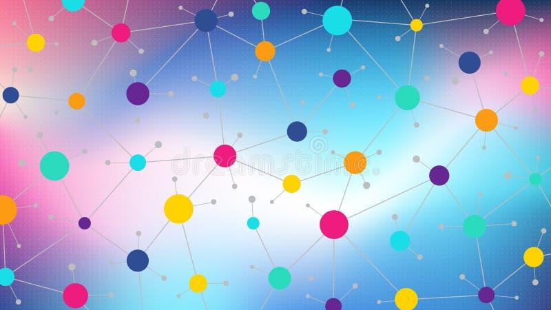 Kommunikationssoziales netz in einem farbigen bunten sozialnetz der Hintergrundzusammenfassung, flaches Vektordesign lizenzfreie abbildung