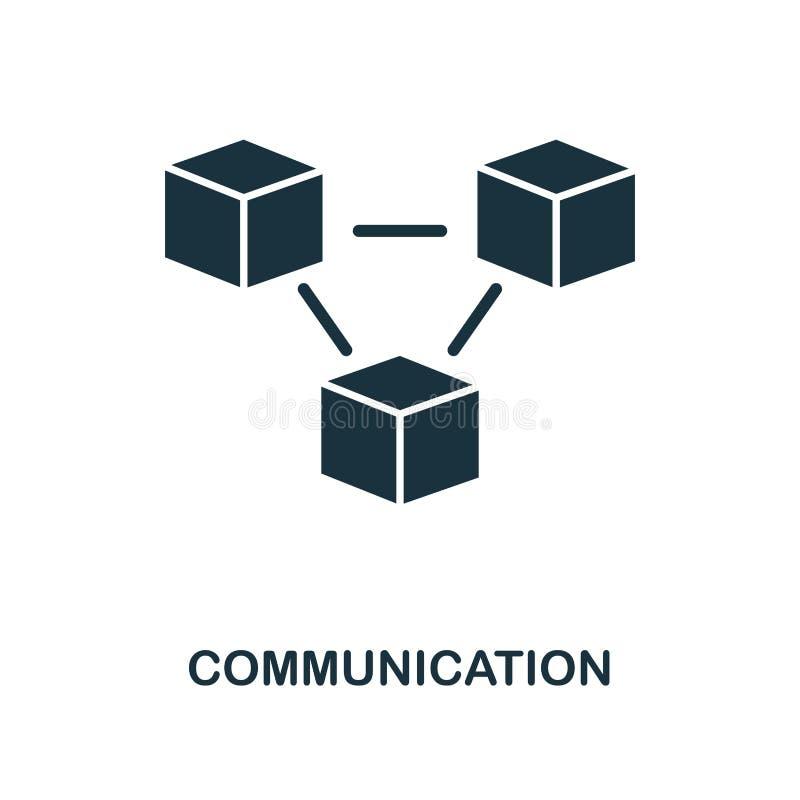 Kommunikationssymbol Monokrom stildesign från samling för symbol för lära för maskin UI och UX Perfekt kommunikationssymbol för P stock illustrationer