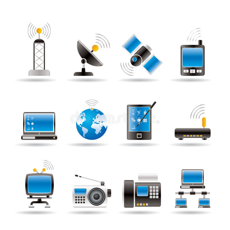 kommunikationssymbolsteknologi stock illustrationer