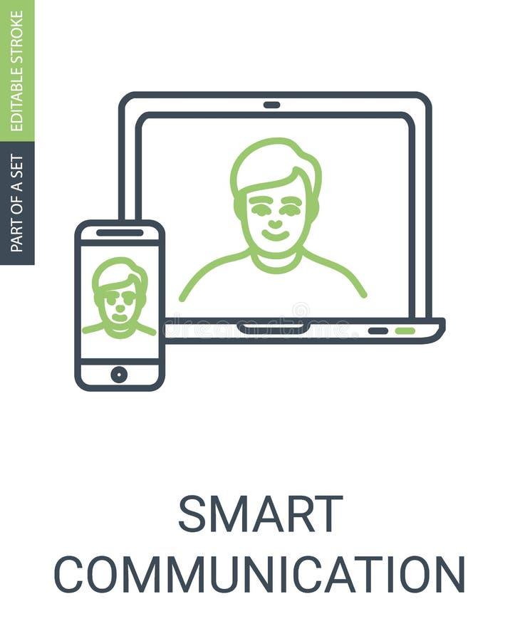 Kommunikationsvektorsymbol med Laptom och telefonen vektor illustrationer