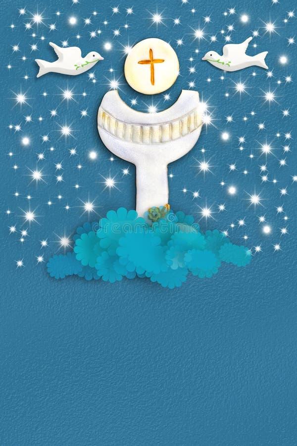 Kommunions-Grußkarte des Heiligen Grals lizenzfreie abbildung