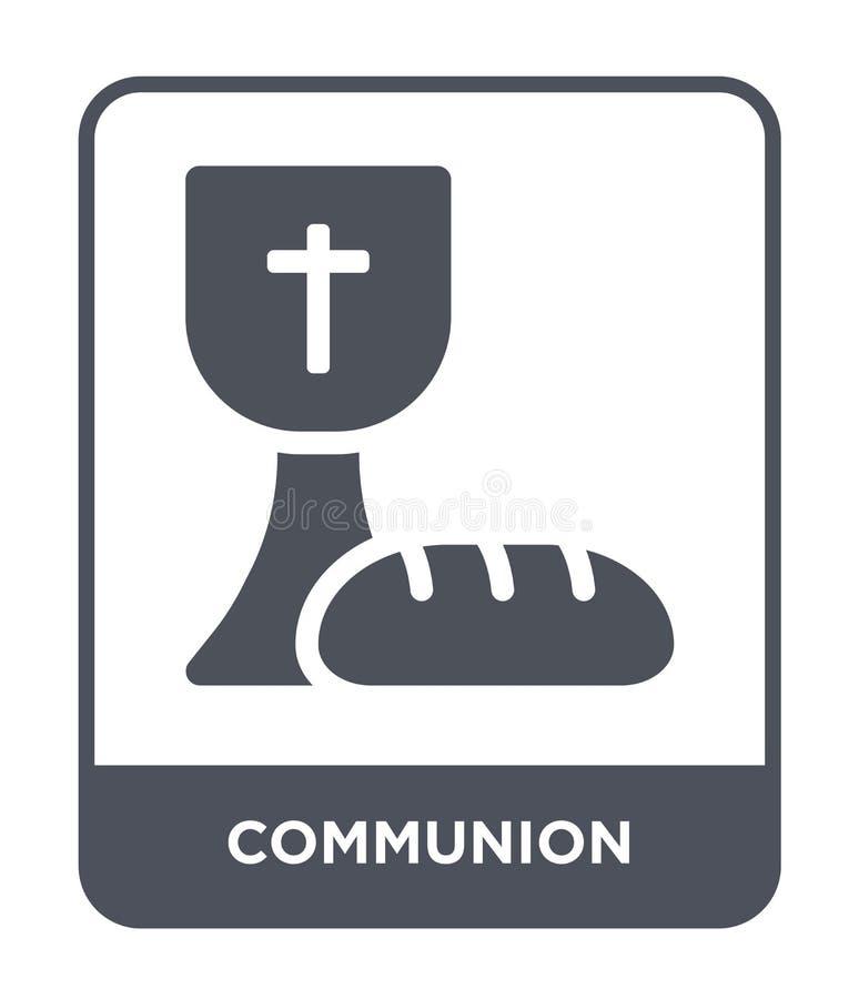 Kommunionsikone in der modischen Entwurfsart Kommunionsikone lokalisiert auf weißem Hintergrund einfache und moderne Ebene der Ko stock abbildung