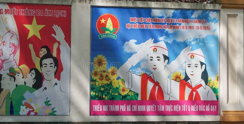 Kommunistische Propaganda unterzeichnet herein Saigon stockfotografie