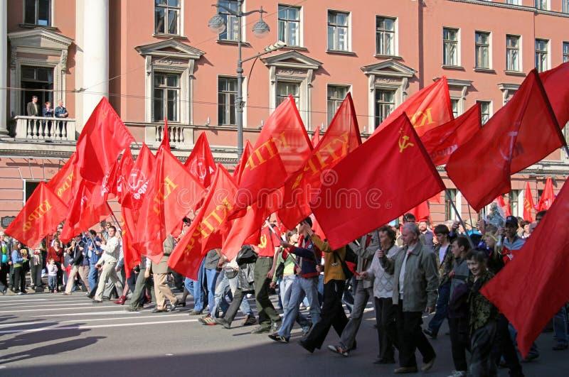 kommunistisk manifestationdeltagare arkivfoto