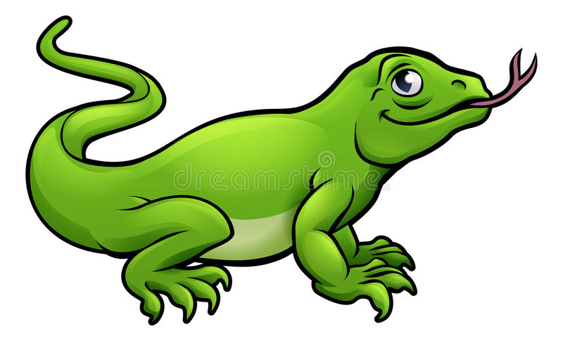 Komodo Dragon Lizard Cartoon Character vektor abbildung