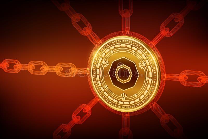 Komodo Moneda Crypto Cadena de bloque moneda f?sica isom?trica de 3D Komodo con la cadena del wireframe Concepto de Blockchain stock de ilustración