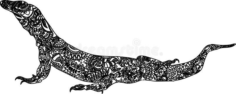 Komodo smoka ręki Rysować Czarny i biały royalty ilustracja