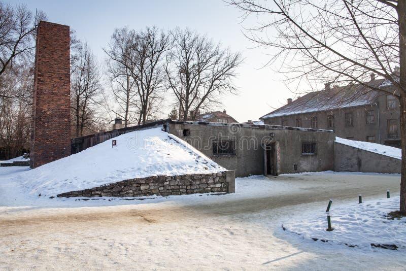 Komory gazowej i crematorium komin w Auschwitz obrazy royalty free