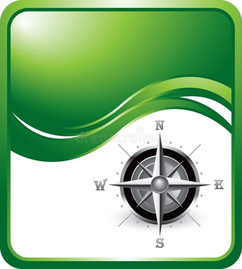Kompaß auf Hintergrund der grünen Welle vektor abbildung
