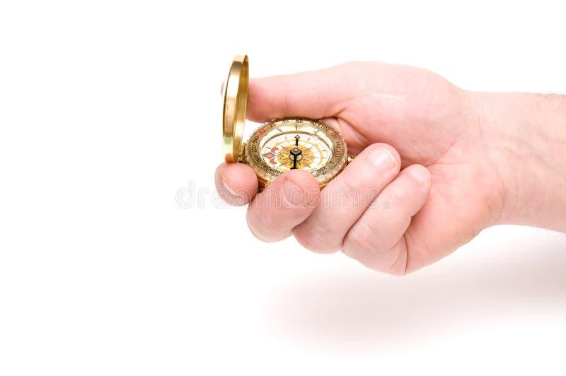 Kompaß in der Hand stockfotografie