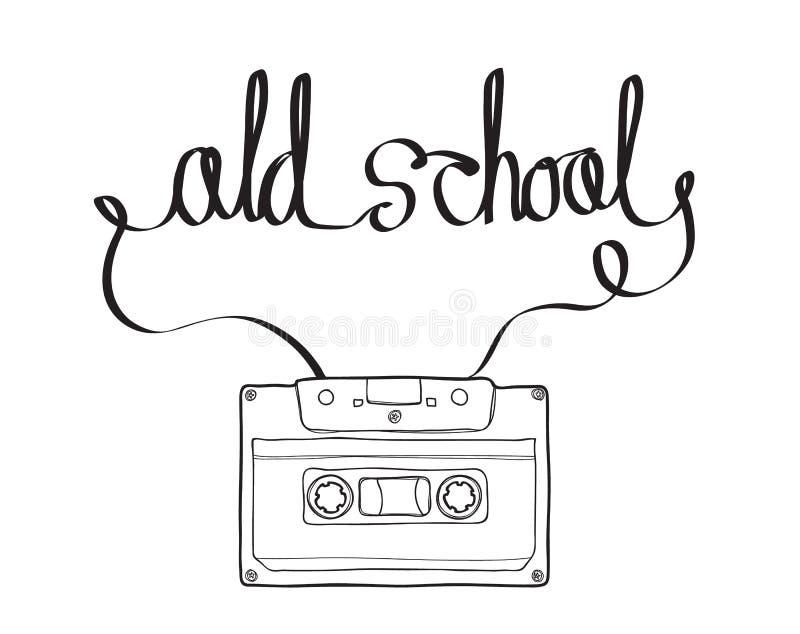 Kompakt kassett eller Musicassette, kassettband, ljudkassett stock illustrationer
