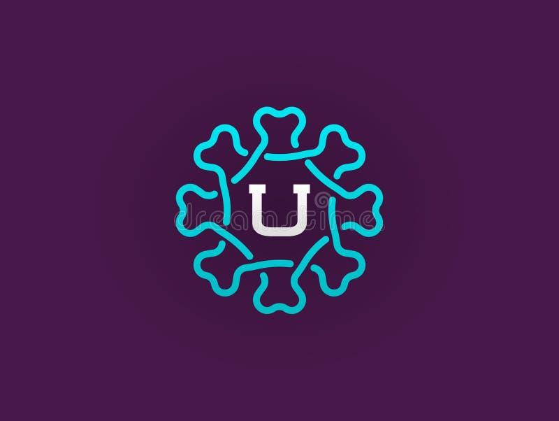 Kompakt monogram- eller symbolsdesignmall med bokstavsvektorn Illu royaltyfri illustrationer