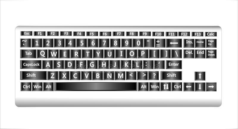 Kompakt QWERTY tangentbord för skrivbords- dator som isoleras på vit bakgrund royaltyfri illustrationer