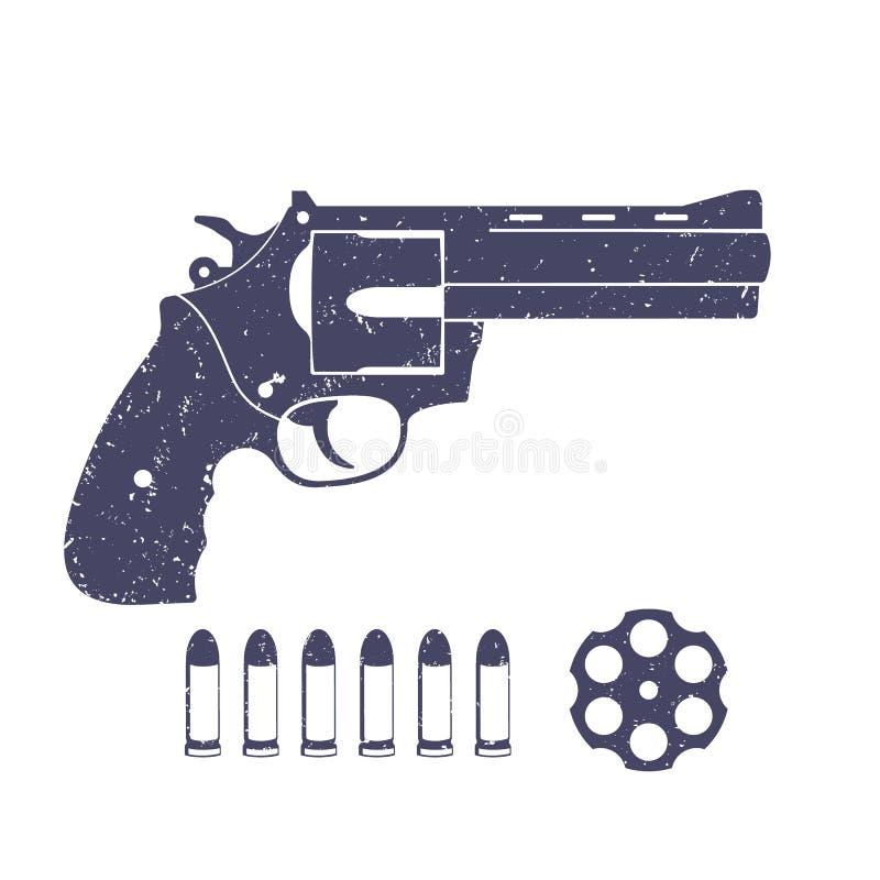 Kompakt revolver, handeldvapen och kulor stock illustrationer