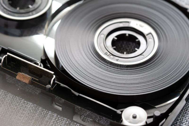 Kompakte Audiokassette wirbelt Konzeptnahaufnahme lizenzfreies stockfoto