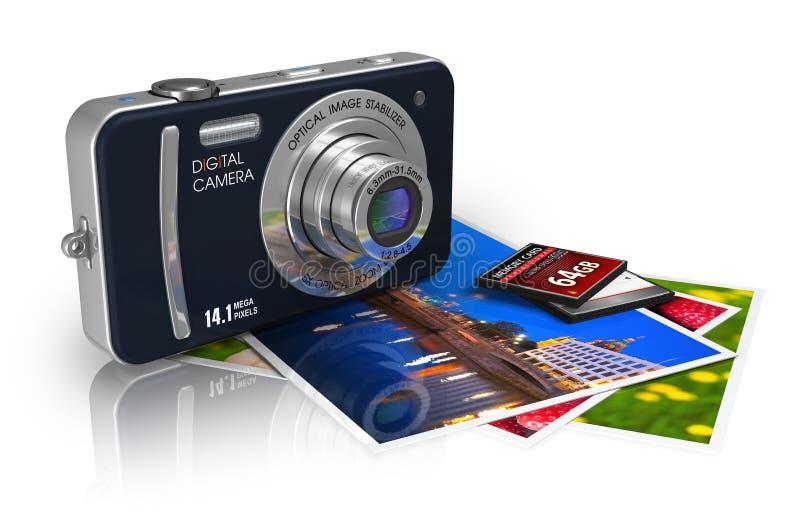 Kompakte Digitalkamera und Fotos lizenzfreie abbildung