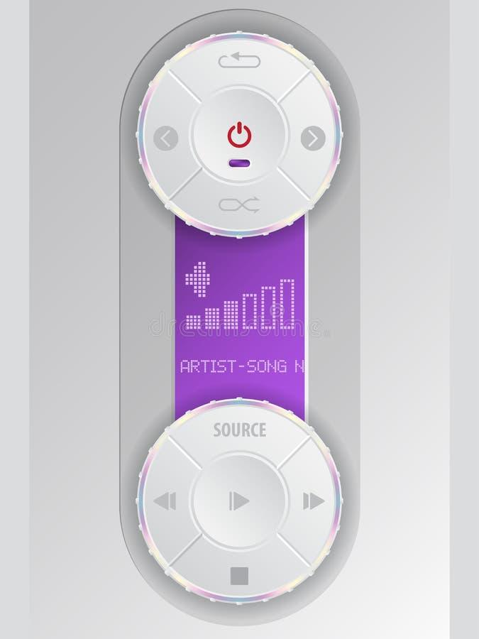 Kompaktes Audiobedienfeld mit purpurrotem lcd lizenzfreie stockfotos