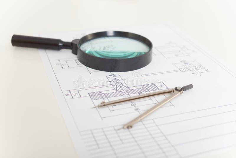 kompasów rysunków magnifier obrazy stock