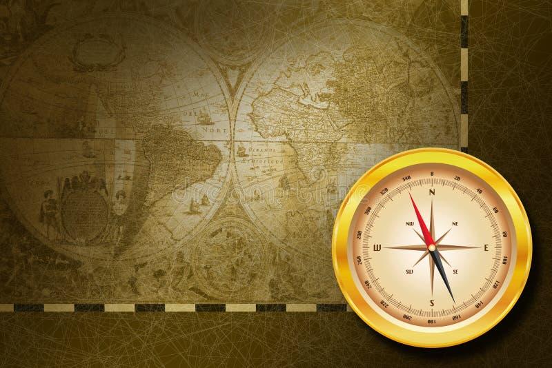 Kompas & kaart stock illustratie