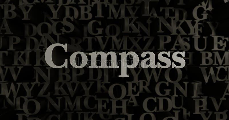 Kompas - 3D odpłacająca się kruszcowa typeset nagłówek ilustracja ilustracji
