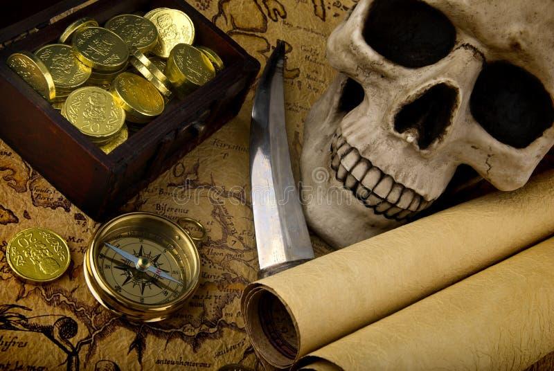 Kompas en een kaart royalty-vrije stock foto