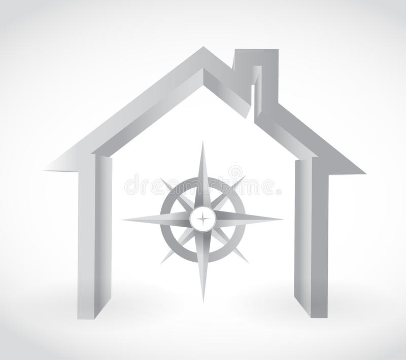 Kompas en huis Het ontwerp van de illustratie stock illustratie