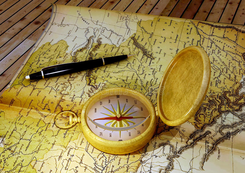 Kompas en kaart stock illustratie