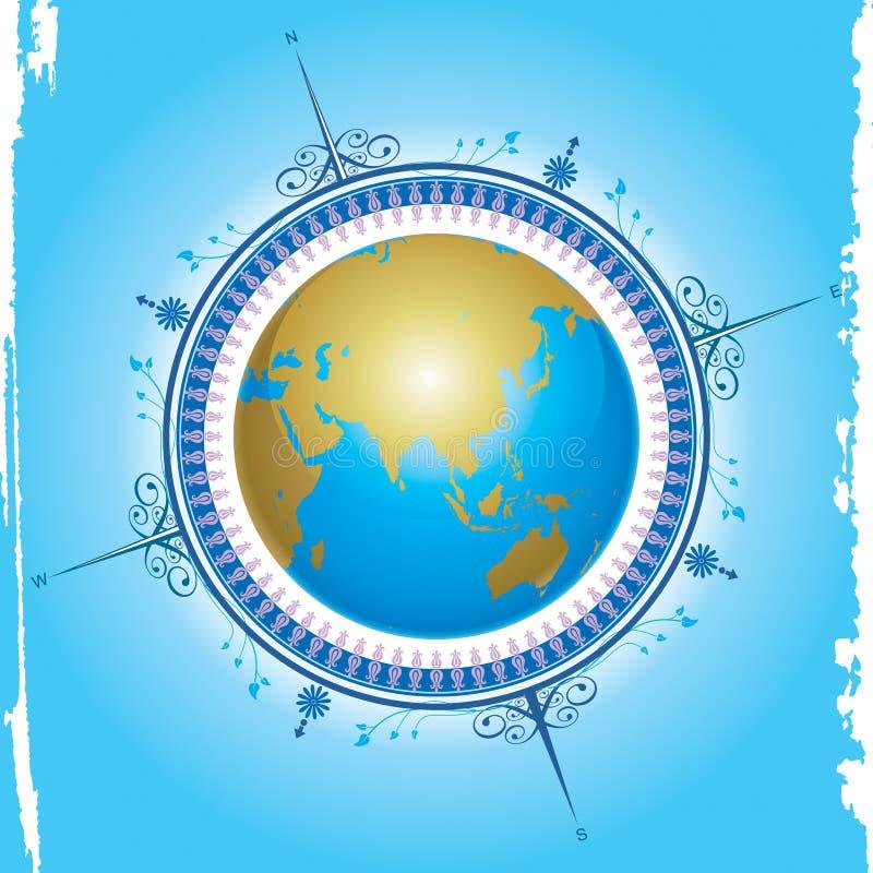 Kompas en kaartontwerp royalty-vrije illustratie