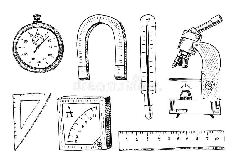 Kompas en magneet, alpelmet met thermometer en microscoop gegraveerde die hand in oude schets en uitstekende symbolen wordt getro stock illustratie