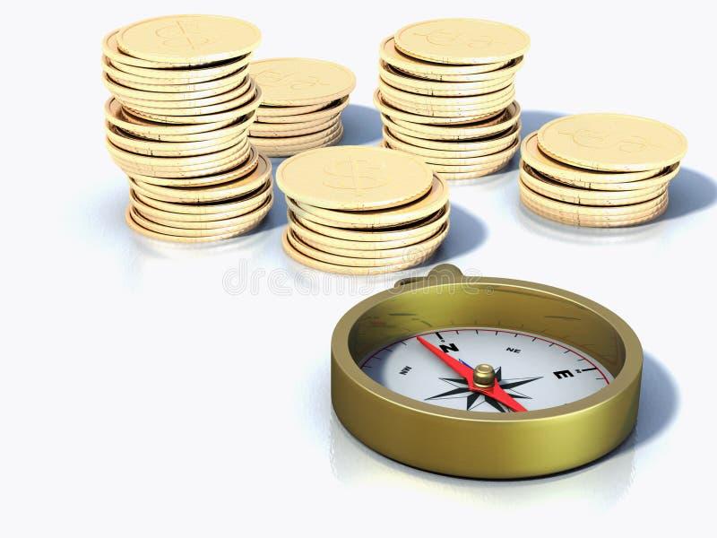 Kompas en muntstukken royalty-vrije illustratie