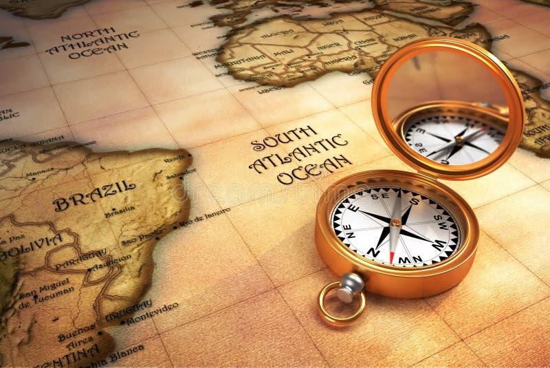 Kompas en oude kaart royalty-vrije illustratie