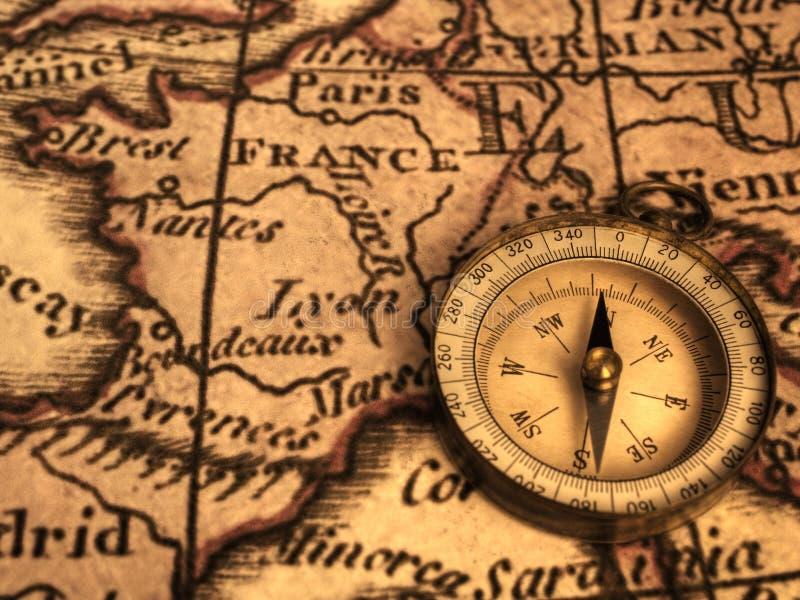 Kompas en Oude Kaart van Frankrijk van 1776 royalty-vrije stock fotografie