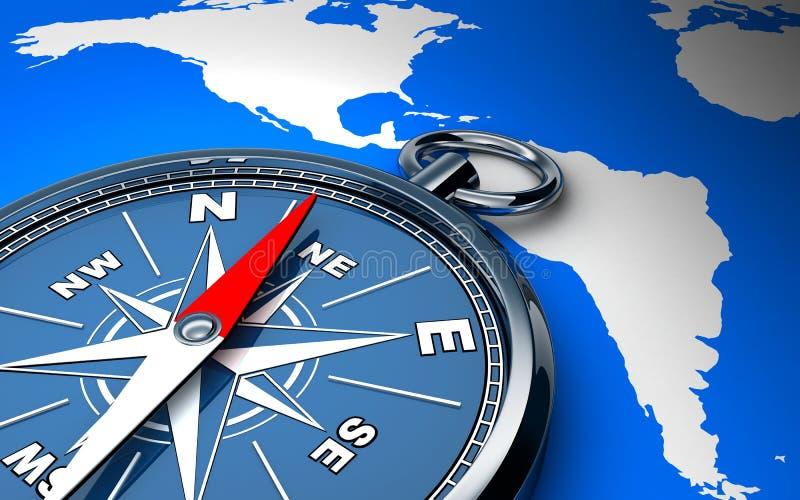 Kompas i mapa royalty ilustracja